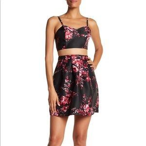 A. Byer Red Floral Faux Two Piece Party Dress NWT